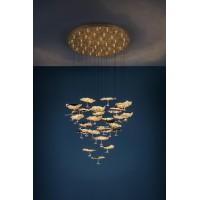 Pakabinamas lubinis šviestuvas Gold Moon Chandelier